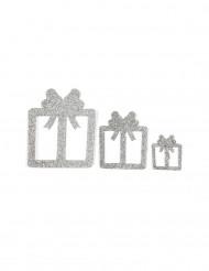 6 decorazioni da tavola pacchetto regalo argento