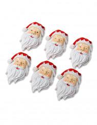6 Babbo Natale in resina con adesivo