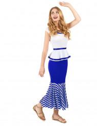 Costume donna gallica bianco e blu adulto