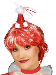 Mini cappello da clown rosso con pompons per adulto
