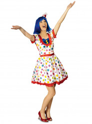 Costume da clown bianco a pois per donna