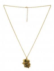 Collana teschio gotico dorato adulto