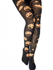 Collant neri con zucche  Halloween per donna
