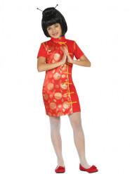 Costume vestito cinese rosso e dorato bambina