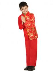 Costume da cinese rosso e dorato per bambino