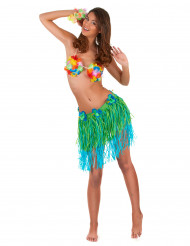 Image of Gonna hawaiana corta verte e blu con fiori adulto