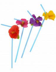 12 cannucce blu  fiori hawaii