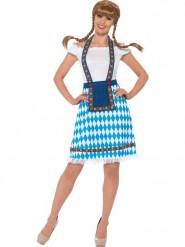 Costume bavarese bianca e blu donna
