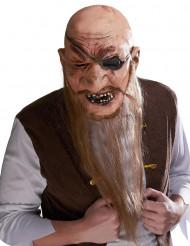 Maschera lattice pirata con barba lunga Adulto