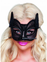 Mascherina gatto in merletto nero donna