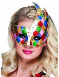 Maschera veneziana rombi multicolore adulto