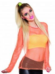 Maglietta fluo arancione anni '80 donna