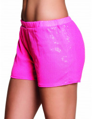 Short con strass rosa fluo Donna