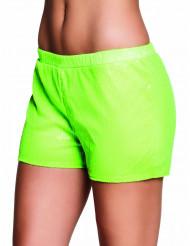 Short con strass verde fluo Donna