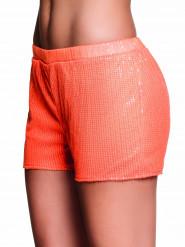 Short con strass arancione fluo Donna