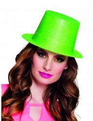 Cappello a cilindro verde fluorescente a paillettes adulto