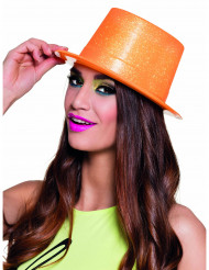 Cappello a cilindro arancione fluorescente a paillettes adulto