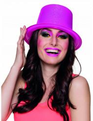 Cappello a cilindro rosa fluorescente a paillettes adulto