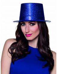 Cappello a cilindro blu reale a paillettes adulto