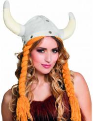Cappello da vichingo con trecce di lana per adulto