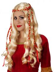 Parrucca lunga bionda con nastri rossi per adulto