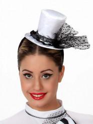 Mini cappello a cilindro bianco donna