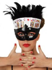 Mascherina nera carte da poker con piume donna