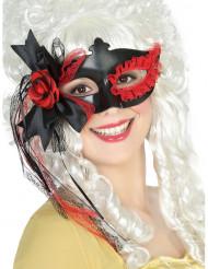 Mascherina nera con merletto e fiore rosso donna