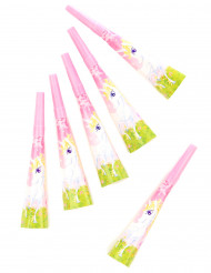 6 Trombette da festa Unicorno girly 20 cm