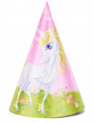 6 Cappelli da festa Unicorno girly 16 cm