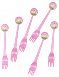 6 Forchette di plastica rosa Unicorno