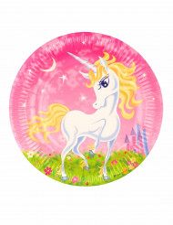 6 piatti in cartone Unicorno girly 23 cm