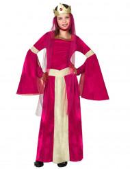 Costume regina medievale rosso e dorato bambina