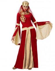 Costume da dama medievale rosso oro per donna