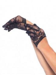 Mini guanti ricamati merletto nero donna