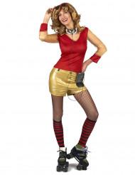 Costume da donna anni '80 dorato e rosso