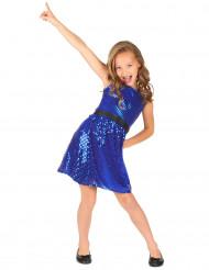 Costume disco con paillettes blu per bambina