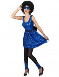 Costume disco anni '80 blu con paillettes da donna