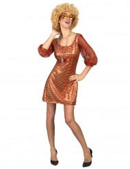 Costume disco arancione con paillettes da donna