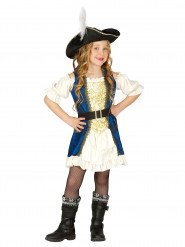 Costume capitano pirata blu per bambina