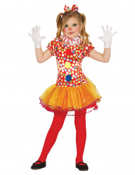 Costume da clown a pois colorati per bambina