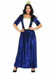 Costume da dama nobile medievale blu per donna