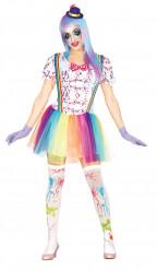 Costume clown colorato donna