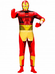 Costume da supereroe bionico rosso e giallo per adulto