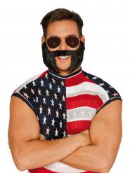 Barba e baffi e basette neri Adulto