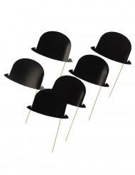 6 cappellini bombetta neri per photobooth