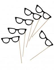 6 occhiali neri per photobooth 13 cm