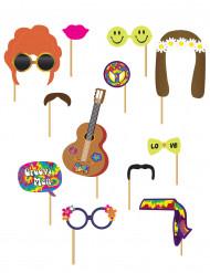 Kit photobooth hippie 12 pezzi