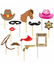 Kit photobooth cowboy 12 pezzi