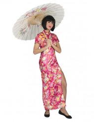 Costume da cinesina rosa con fiori per donna